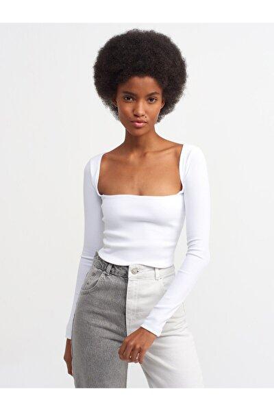 Kadın Beyaz Fitilli Uzun Kollu Top Bluz 3700