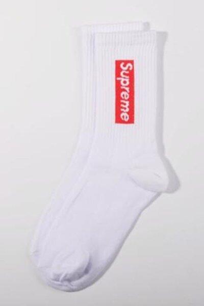 Beyaz Supreme Çorap