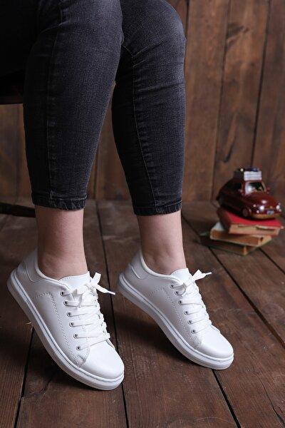 Kadın Beyaz Ince Bağcıklı Casual Ayakkabı