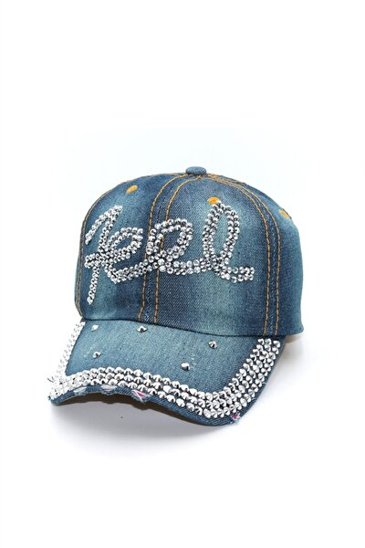 Taş Işlemeli Yazılı Kadın Kot Şapka - Capfelr003