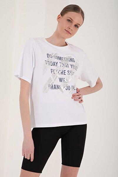 Kadın Deforme Yazı Baskılı Oversize O Yaka T-shirt - 97133