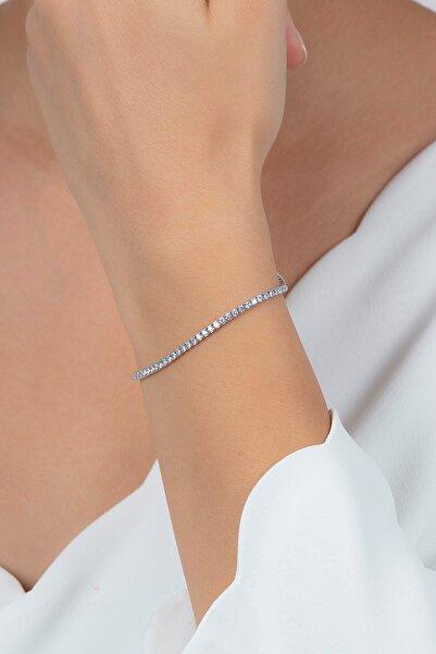 Beyaz Zirkon Taşlı Su Yolu Kadın Gümüş Bileklik Vkb-6511