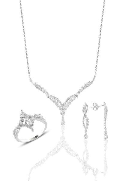 Gümüş Rodyumlu Pırlanta Modeli Beyaz Altın Görünümlü Kolye Küpe Ve Yüzük Seti