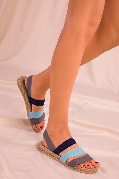 Kadın Gri Mavi Lacivert Sandalet