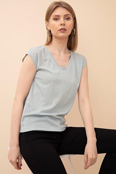 Kadın Mint Simli V Yaka T-shirt