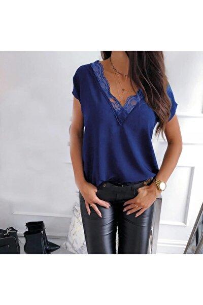 Yaka Dantel Detay Sandy Kumaş Bluz