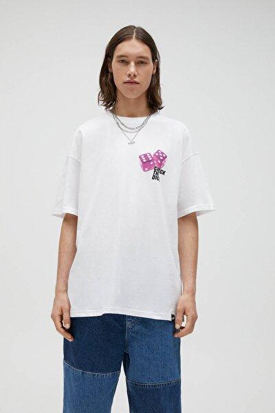 Erkek Beyaz Zar Görselli T-shirt