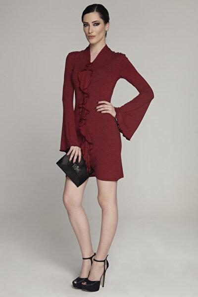 Kadın Bordo Volan Detaylı Elbise 15L4623