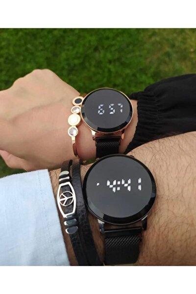 Özel Kutusunda Çift Kol Saati Mıknatıslı Kordon Dokunmatik Led Sevgili Saatleri