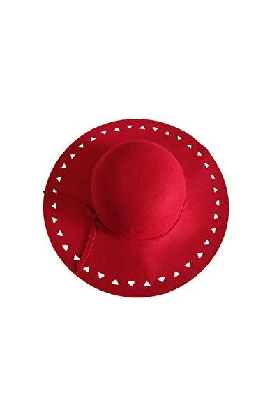 Kırmızı Renkli Bayan Keçe Fötr Şapka