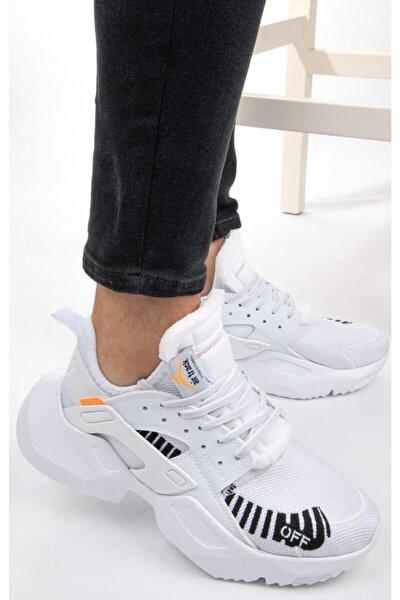 Unisex Sneaker Spor Ayakkabı Yürüyüş Ayakkabısı Yüksek Tabanlı Beyaz Siyah