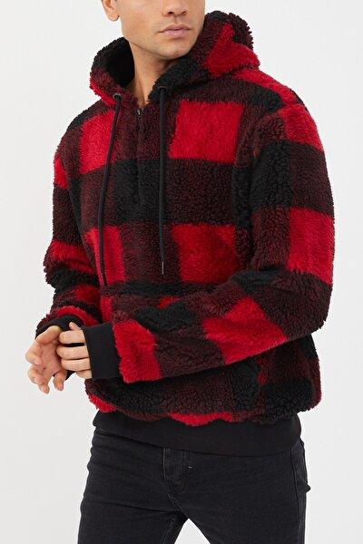 Kırmızı Siyah Ekoseli Peluş Sweatshirt 1kxe8-44478-04