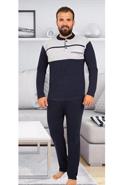 Erkek Lacivert Rimoli Uzun Kollu Pijama Takım