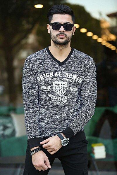 Erkek Siyah Slim Fit V Yaka Baskılı 2 Iplik Ribanalı Sweatshirt F2003v