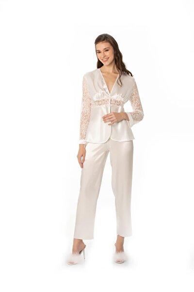 Kadın Saten Dantelli Pijama Takımı -1121 Ekru