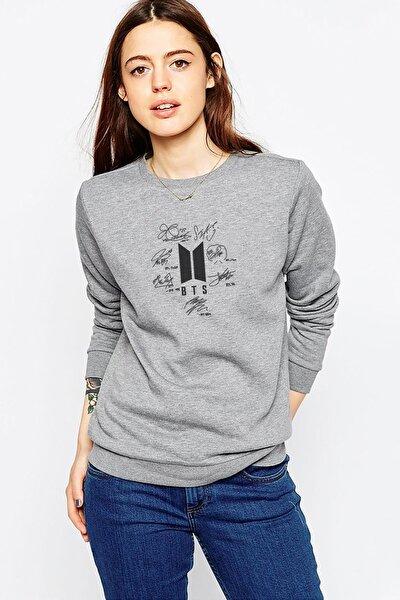 Kadın Gri Army Logo Hit Göğüs Baskılı Örme Sweatshirt