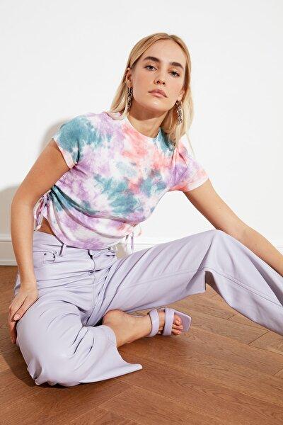 Lila Batik Büzgü Detaylı Örme Bluz TWOSS21BZ0044