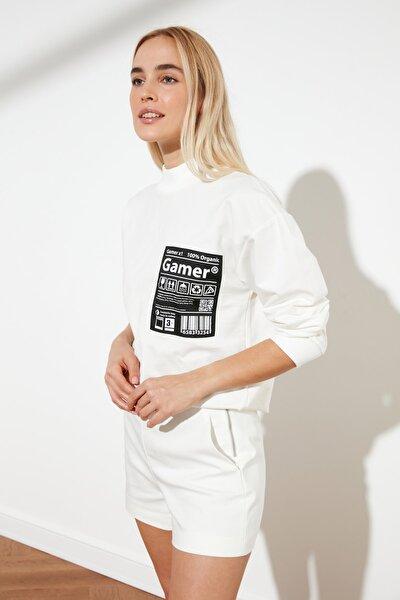 Ekru Baskılı Örme Sweatshirt TWOSS21SW0073