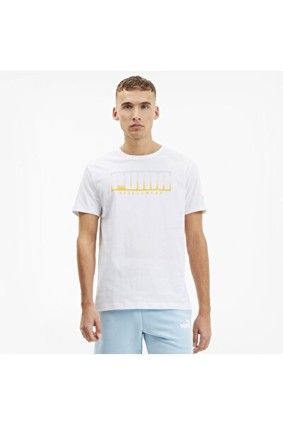 Erkek Beyaz Logo Baskılı T-Shirt 58133352