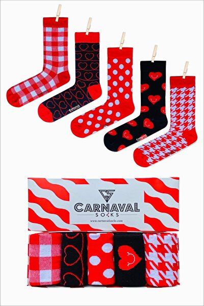 5'li Kırmızı Kalp Dama Tasarımlı Renkli Çorap Set