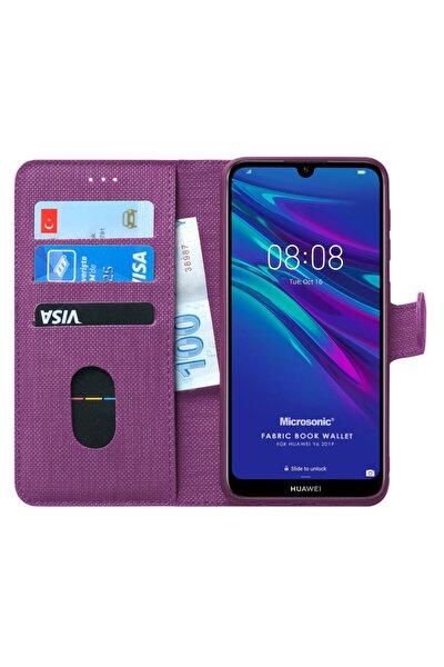 Microsonic Y6 2019 Kılıf Fabric Book Wallet Mor