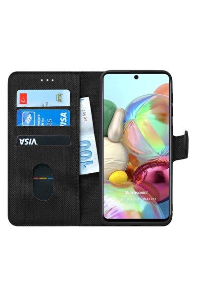 Microsonic Galaxy A71 Kılıf Fabric Book Wallet Siyah