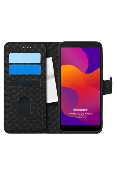 Microsonic Y5p Kılıf Fabric Book Wallet Siyah