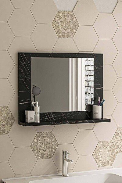 Siyah Mermer 60x45 Raflı Banyo Dolabı Wc Ofis Çocuk Yatak Odası Bahçe Lavabo Aynası