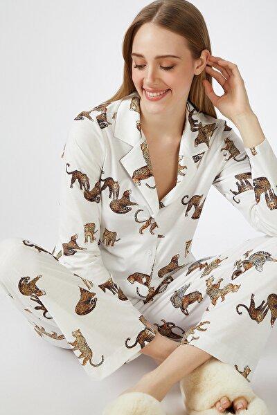 Kadın Ekru Kaplan Desenli Viskon Pijama Takımı DD00814