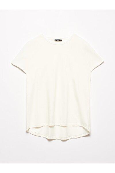 3471 Bisiklet Yaka Basic T-shirt-ekru