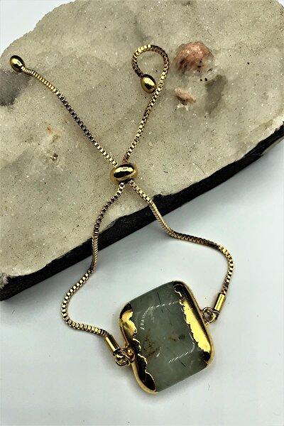 Dr Stone Golden Zebercet Taşı 22k Altın Kaplama El Yapımı Kadın Bileklik Tkrb2