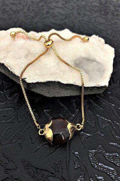 Dr Stone Golden Jasper Taşı 22k Altın Kaplama El Yapımı Kadın Bileklik Tkrb22
