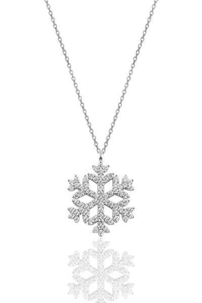 Gümüş Rodyumlu Gümüş Kar Tanesi Kolye