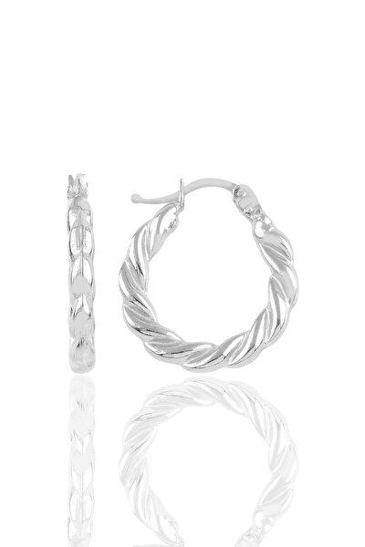 Gümüş Rodyumlu Kalın Burgu Gümüş Şarnel Küpe
