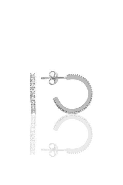 Gümüş Rodyumlu Zirkon Taşlı 16 Mm Tamtur Halka Küpe