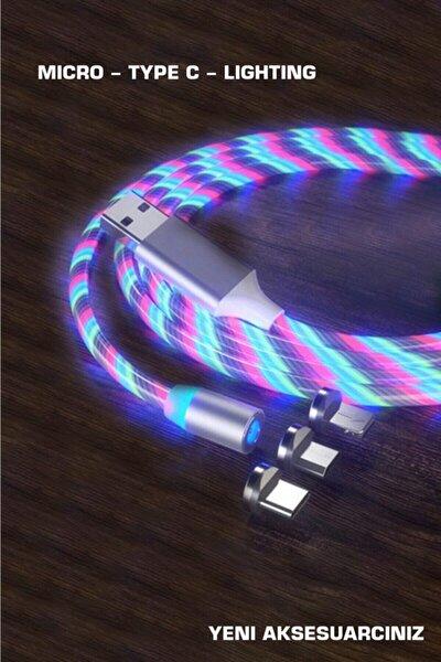Ledli(ışıklı) Telefon Şarj Kablosu -mıknatıs Özelliği 3 Ayrı Uç(type-c,ios,anroid)