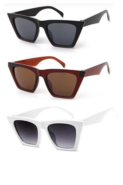 Kadın Beyaz Kombin Set Güneş Gözlüğü 3'lü