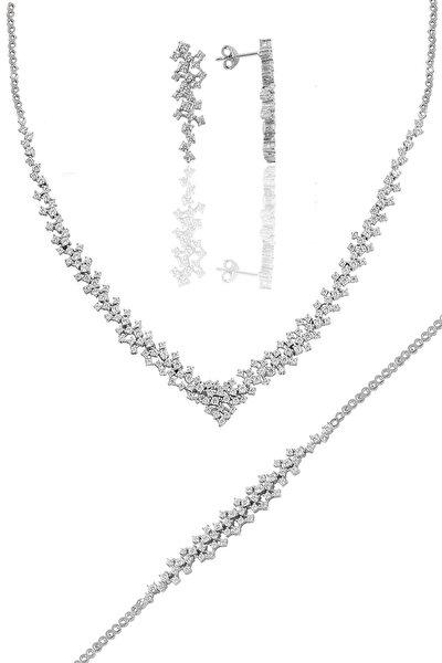 Gümüş Rodyumlu Pırlanta Modeli Su Yolu Gümüş Takım.