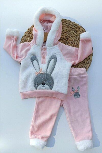 Kız Bebek Pembe Kapşonlu Fiyonklu Tavşan Desenli Kadife Takım