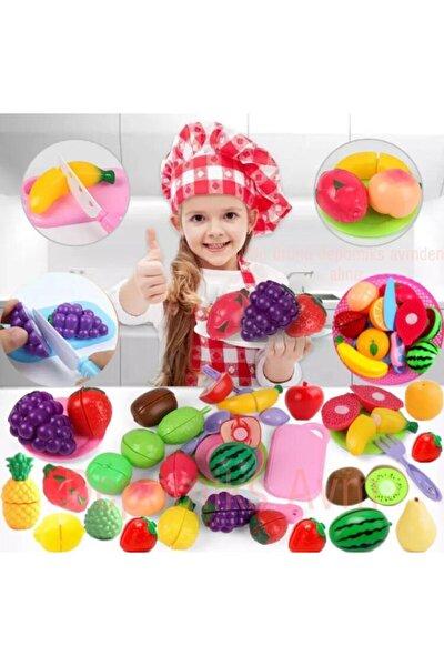 Oyuncak Sebze Meyve Kesme Oyunu 44 Parça Set Evcilik Oyuncakları - Kız Çocuk Oyuncak Depomiks Avm