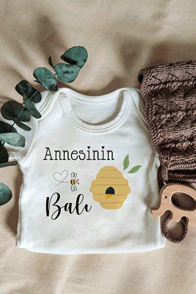 Unisex  Bebek  Ekru Annesinin Balı Yazılı Kısa Kol Organik Body
