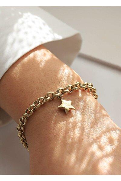 14 Ayar Altın Doch Zincirli Yıldız Kadın Bileklik