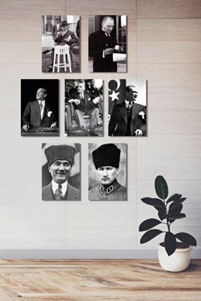 Siyah Ahşap Atatürk Mdf Poster 7 Adet 20x30 cm