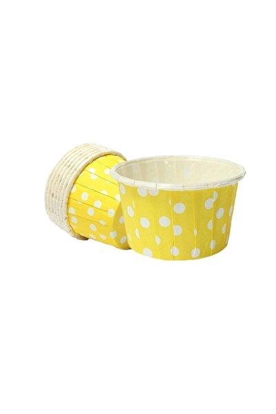 Sarı Zemin Beyaz Puantiyeli Muffin Kabı 50x39 25'li