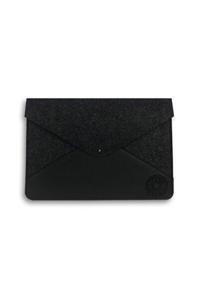Mandala Desenli Deri Keçe 13? Apple Macbook Kılıfı Ve Evraklık Siyah