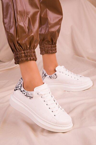 Beyaz-Beyaz Yılan Kadın Sneaker 15732