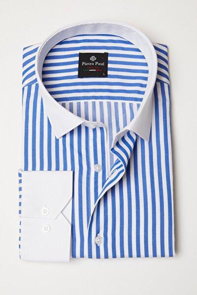 Erkek  Slim Fit Beyaz Yakalı Çizgili Gömlek