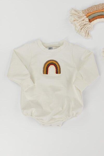 Unisex Bebek Çocuk Gökkuşağı Punch Nakış Detaylı Pamuklu Romper Tulum