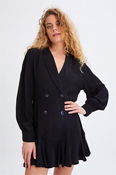 Kadın Quzu Siyah Eteği Volanlı Kruvaze Önden Düğmeli Gömlek Tip Elbise