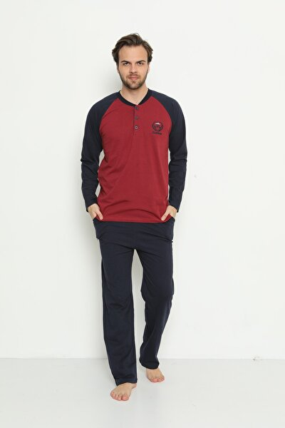 Erkek Uzun Kollu Cepli ve Yaka Düğmeli Süprem Pijama Takımı 01737